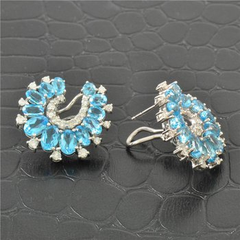 Blue Topaz and Diamond Earrings in White Gold