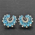 Ryan Gems Blue Topaz and Diamond Earrings in White Gold