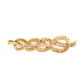 Knotted Gemlock Diamond Pin in 18k Gold