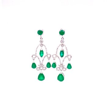 Emerald and Diamond Chandelier Earrings in White Gold