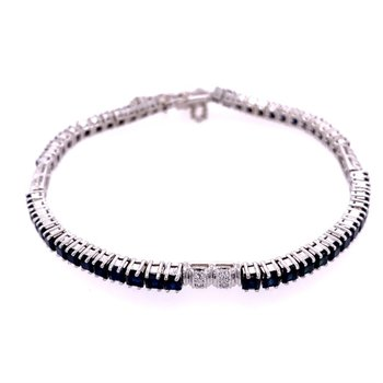 "8"" Sapphire and Diamond Bracelet in White Gold"