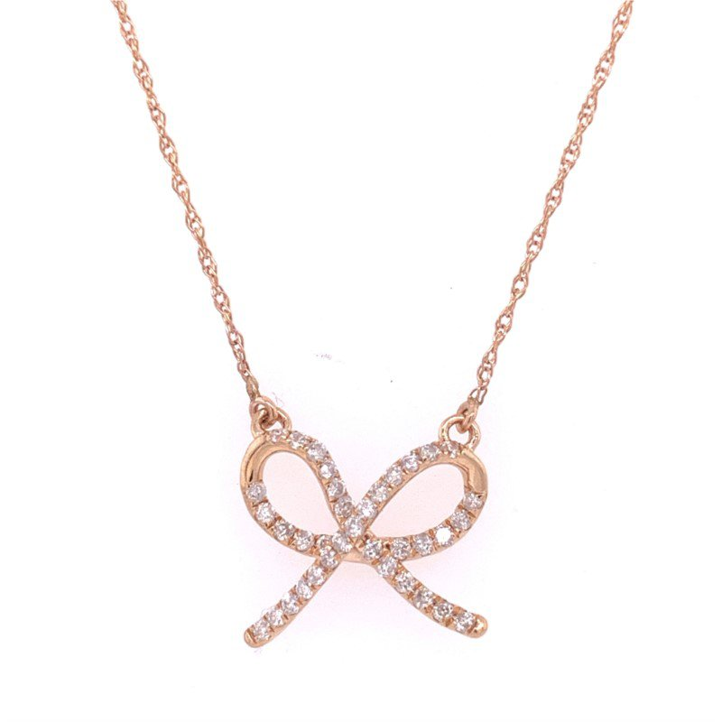 Royal Jewelry Diamond Bow Necklace in Rose Gold
