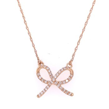 Diamond Bow Necklace in Rose Gold
