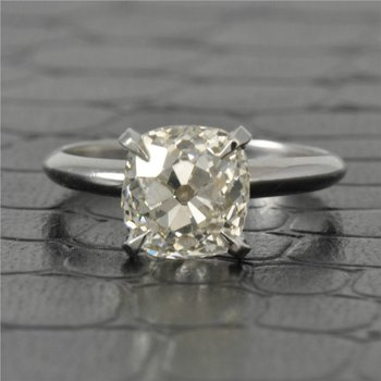 GIA 2.67 Carat L-VS2 Old Mine Cut Diamond Engagement Ring