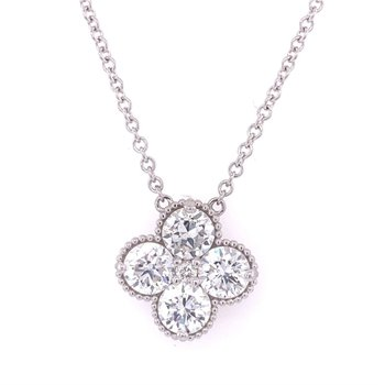 Diamond Quatrefoil Necklace in White Gold