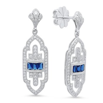 Art Deco Inspired Sapphire and Diamond Earrings in 18k White Gold