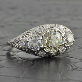 Antique Platinum Edwardian Three Stone Old European Cut Diamond Ring