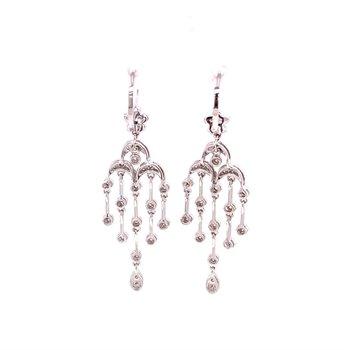 Diamond Chandalier Earrings in White Gold
