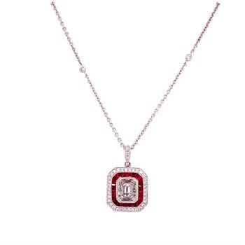 Art Deco Inspired Ruby & Diamond Pendant