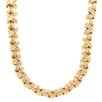 "Vintage Tiffany & Co. ""X"" Link Necklace in 18k Gold"