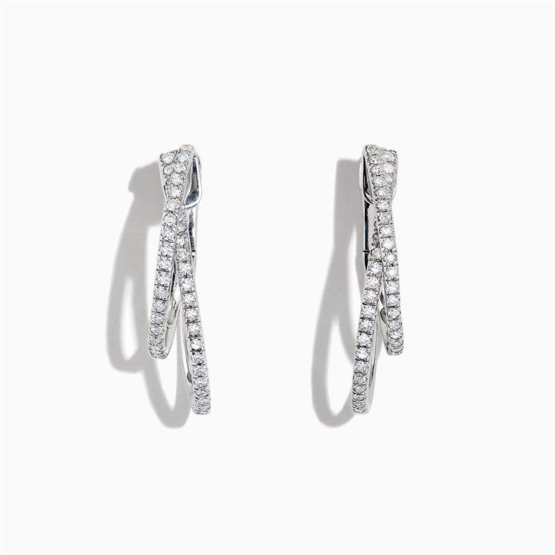 Effy Pave Diamond Earrings in White Gold