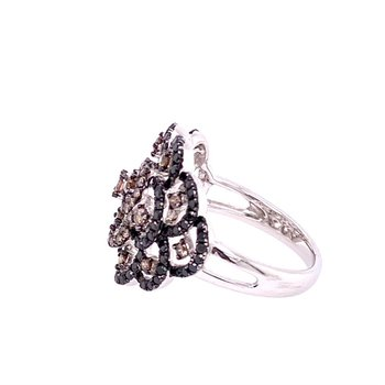 Black and Brown Diamond Ring in White Gold