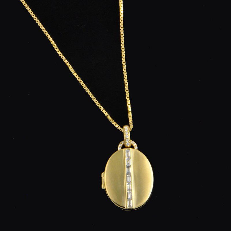 My Story Jewelry Yellow Gold Locket with Baguette Cut Diamonds