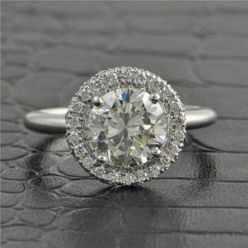 GIA 2.04 Carat M-VS2 Round Brilliant Cut Diamond Engagement Ring in White Gold