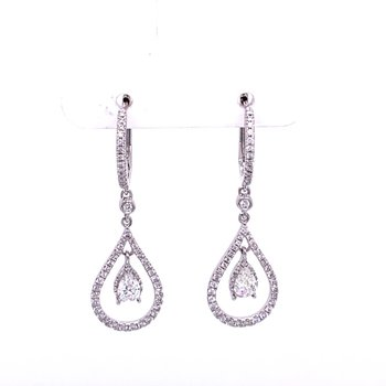Tear Drop Shaped Diamond Earrings in White Gold