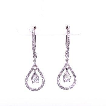 Tear Drop Shaped Diamond Earrings in White Gold