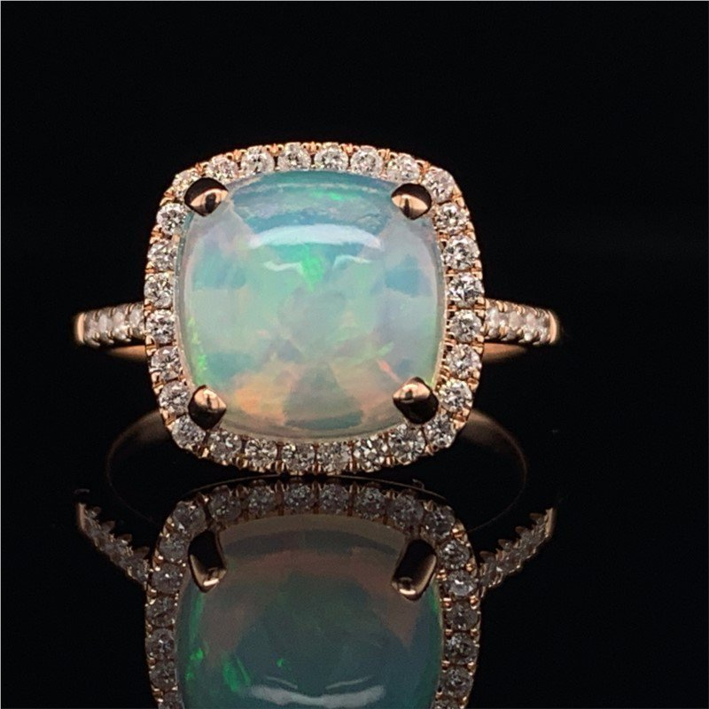 Royal Jewelry Opal and Diamond Ring in Rose Gold