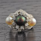 Perry's Estate Collection Pearl and Diamond Ring in White Gold