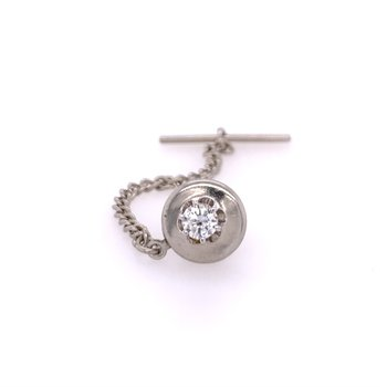 Diamond Tie Tack in White Gold