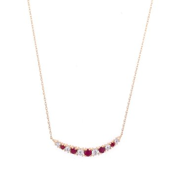 Curved Diamond and Ruby Bar Necklace in Yellow Gold