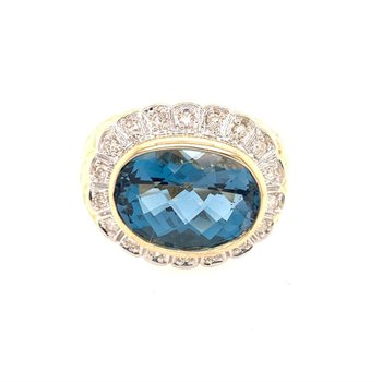 Blue Topaz and Diamond Ring is Textured Yellow Gold