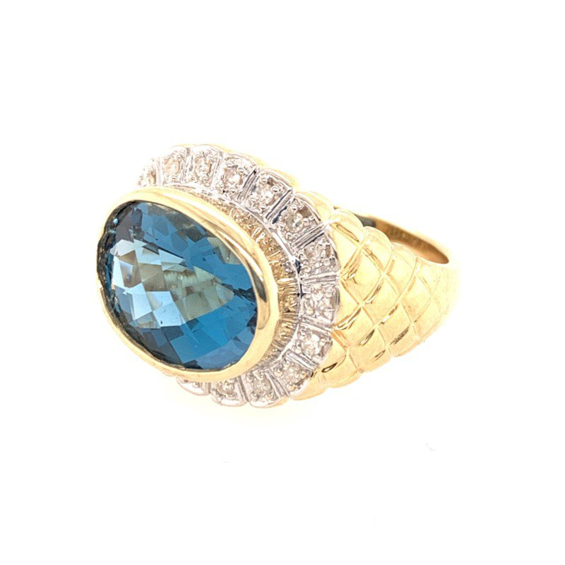 Perry's Estate Collection Blue Topaz and Diamond Ring is Textured Yellow Gold