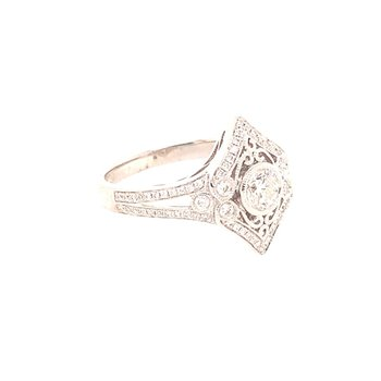 Vintage Inspired Filigree Diamond Ring in White Gold