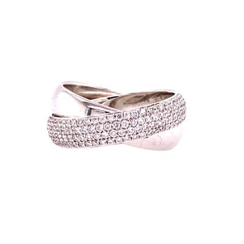 Double Interlocking Bands in White Gold