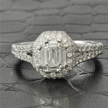 Multi-Cut Diamond Engagement Ring in White Gold