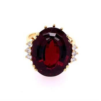 Vintage 1960s-70s Rubellite and Diamond Ring in Yellow Gold