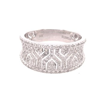 Geometric Patterned Open Work Diamond Ring in White Gold