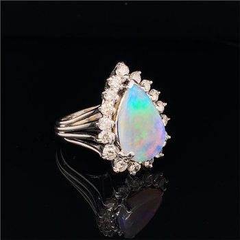 Vintage Opal and Diamond Ring in White Gold