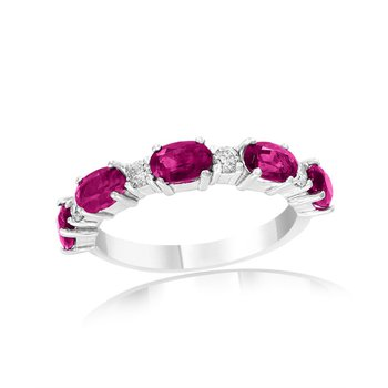 Ruby and Diamond Band in White Gold