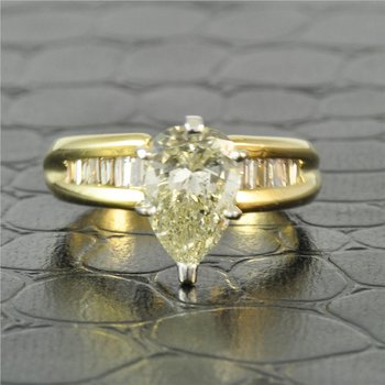 GIA 1.79 Carat Pear Cut Diamond Engagement Ring in Yellow Gold