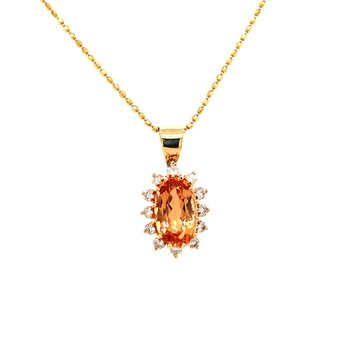 Imperial Topaz and Diamond Pendant in Yellow Gold