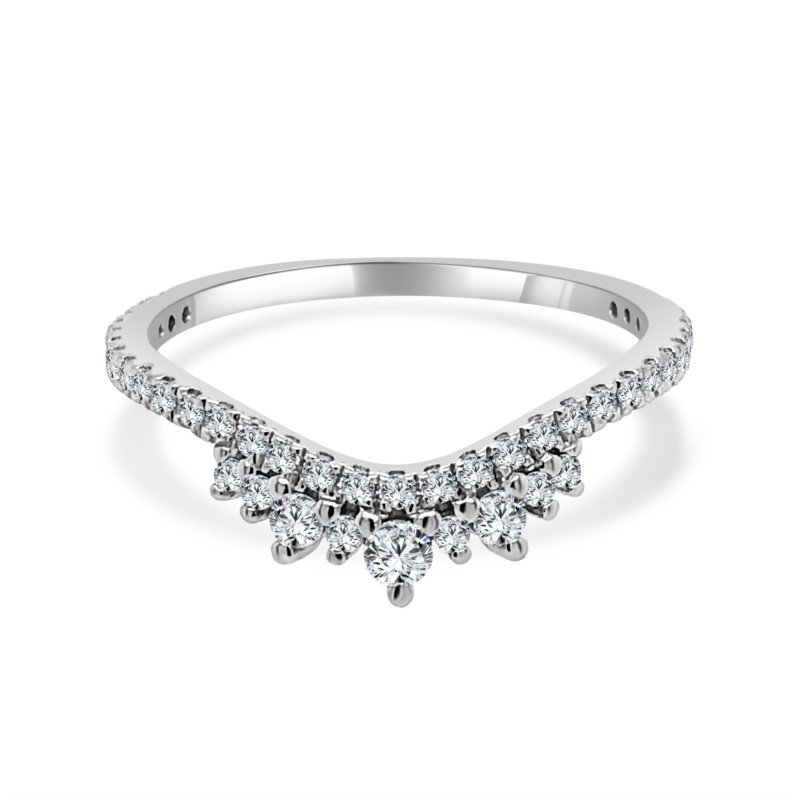 Imagine Bridal Curved Diamond Wedding Band in White Gold