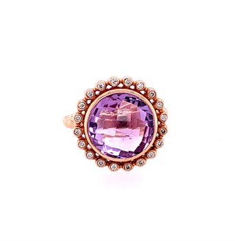 Checkerboard Cut Amethyst and Diamond Ring in Yellow Gold