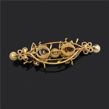 Antique Gold and Silver Diamond Bug Pin by Peruzzi
