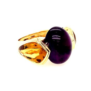 Marina B Amethyst and Citrine Ring in 18K Yellow Gold
