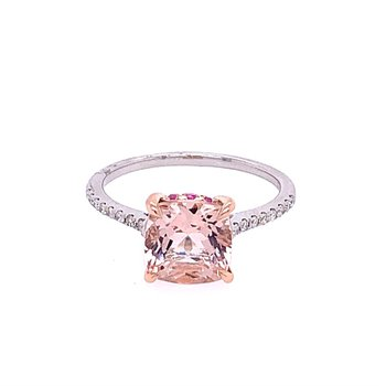 Morganite and Pink Sapphire Ring in Rose Gold