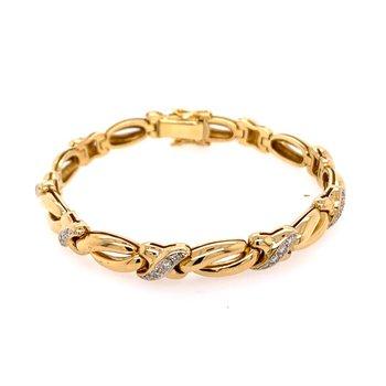 """Diamond """"X"""" Link Bracelet in 18k Gold"""