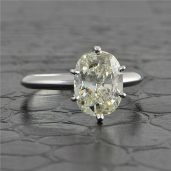 2.34 ct. Oval Cut Diamond Engagement Ring in White Gold