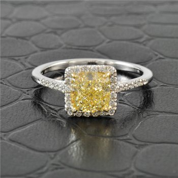 GIA 1.72  Carat Fancy Yellow - VS2  Cushion Cut Diamond Engagement Ring with Halo