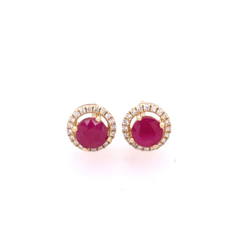 Royal Jewelry Ruby and Diamond Earrings in Yellow Gold