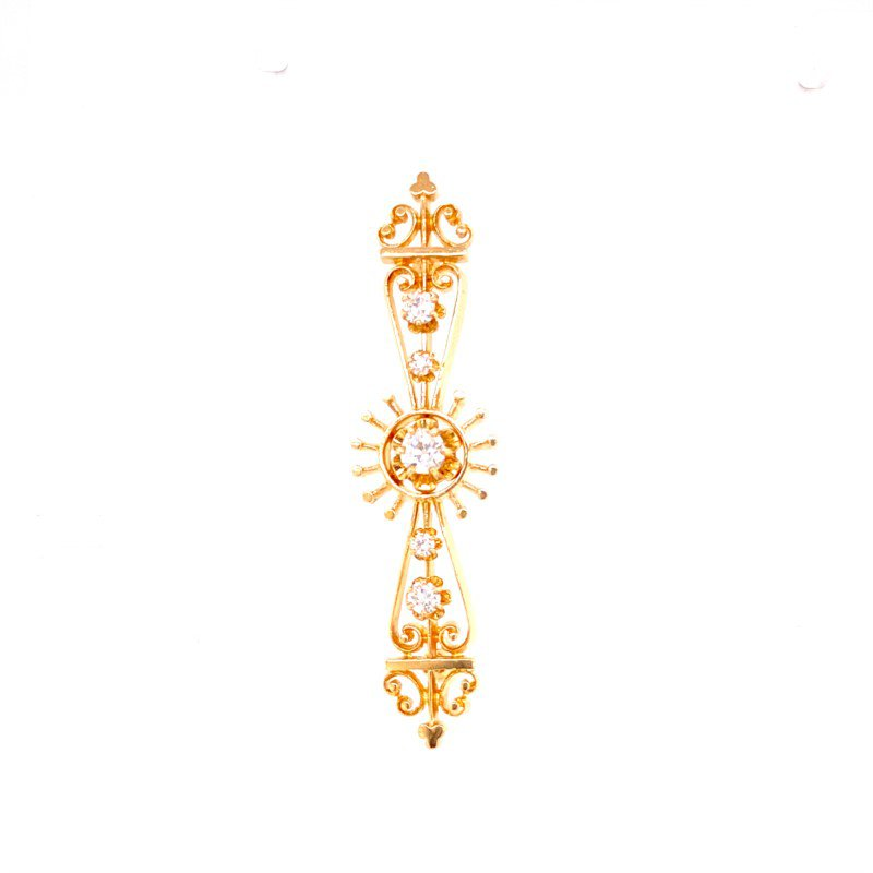 Perry's Estate Collection 1950s Victorian Revival Pin in Yellow Gold