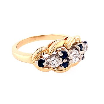 Sapphire and Diamond Ring in Two Tone Gold