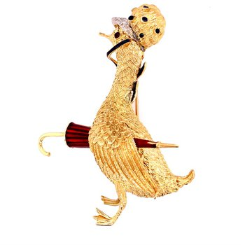 Vintage Mother Goose Brooch in 18k Gold