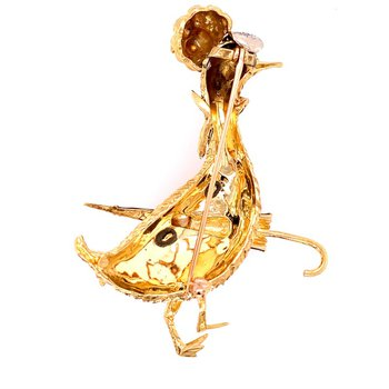 Vintage Mother Goose Brooch in 18k Gold