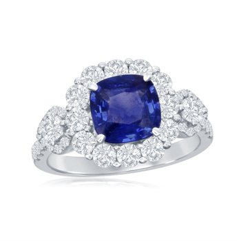 Sapphire and Diamong Ring in 18k White Gold