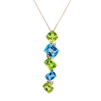 Topaz and Peridot Pendant in Rose Gold